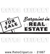 May 4th, 2018: Vector Clip Art of Retro for Sale Bargains in Real Estate Sign by BestVector