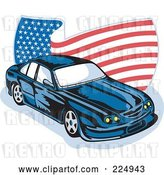 Vector Clip Art of Retro Ford GT V8 and Wavy American Flag Logo by Patrimonio