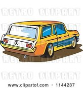 Vector Clip Art of Retro Ford Mustang Station Wagon Car by Patrimonio