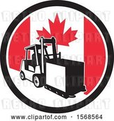 Vector Clip Art of Retro Forklift Moving a Box in a Canadian Flag Circle by Patrimonio