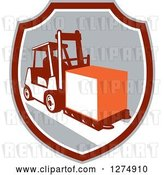 Vector Clip Art of Retro Forklift Moving a Box in a Gray Maroon and White Shield by Patrimonio