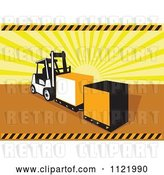 Vector Clip Art of Retro Forklift Moving Crates over Sun Rays by Patrimonio