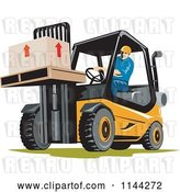 Vector Clip Art of Retro Forklift Operator Moving Boxes by Patrimonio
