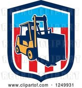 Vector Clip Art of Retro Forklift with a Box on an American Shield by Patrimonio