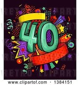 Vector Clip Art of Retro Fortieth Anniversary or Birthday Design with Number 40 and Colorful Stars and Confetti by BNP Design Studio