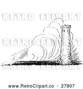 Vector Clip Art of Retro Fortress in a Storm by Prawny Vintage
