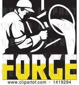 Vector Clip Art of Retro Foundry Worker Guy Pouring Molten Metal over Forge Text in Black White and Yellow by Patrimonio