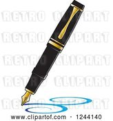 Vector Clip Art of Retro Fountain Pen Nib Drawing Blue Swirls by Lal Perera