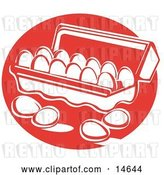 Vector Clip Art of Retro Four Eggs Resting on a Counter near an Open Egg Carton by Andy Nortnik