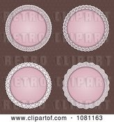 Vector Clip Art of Retro Four Pink Circular Frames over Brown Dots by KJ Pargeter
