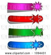 Vector Clip Art of Retro Four Pink Red Green and Blue Star Burst Banners by KJ Pargeter