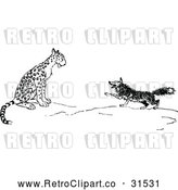 Vector Clip Art of Retro Fox and Leopard by Prawny Vintage