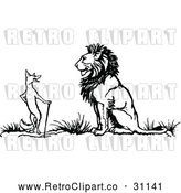 Vector Clip Art of Retro Fox and Lion by Prawny Vintage