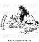 Vector Clip Art of Retro Fox and Lion with Prey by Prawny Vintage