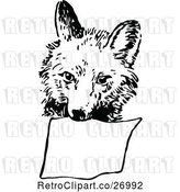 Vector Clip Art of Retro Fox Carrying a Sign by Prawny Vintage