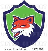 Vector Clip Art of Retro Fox Head in a Blue White and Green Shield by Patrimonio