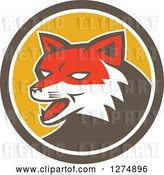 Vector Clip Art of Retro Fox Head in a Brown White and Yellow Circle by Patrimonio