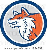 Vector Clip Art of Retro Fox Head in Profile Inside a Blue White and Gray Circle by Patrimonio