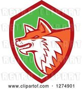 Vector Clip Art of Retro Fox Head in Profile Inside a Red White and Green Shield by Patrimonio