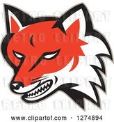 Vector Clip Art of Retro Fox Head Snarling by Patrimonio