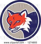 Vector Clip Art of Retro Fox Head Snarling in a Blue White and Taupe Circle by Patrimonio