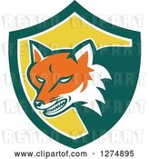 Vector Clip Art of Retro Fox Head Snarling in a Green White and Yellow Shield by Patrimonio