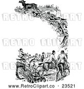 Vector Clip Art of Retro Fox Hunting Border by Prawny Vintage