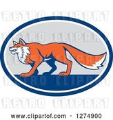 Vector Clip Art of Retro Fox in Profile Inside a Blue White and Gray Oval by Patrimonio