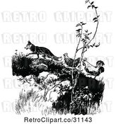 Vector Clip Art of Retro Fox Luring Chickens up a Hill by Prawny Vintage