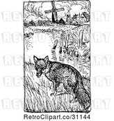 Vector Clip Art of Retro Fox near a Pond and Farm by Prawny Vintage