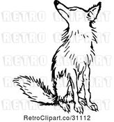 Vector Clip Art of Retro Fox Sitting by Prawny Vintage