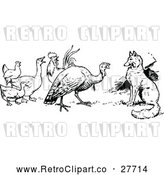 Vector Clip Art of Retro Fox Turkey and Birds by Prawny Vintage