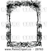 Vector Clip Art of Retro Frame of Cherubs Hanging Flowers and Trees by Prawny Vintage