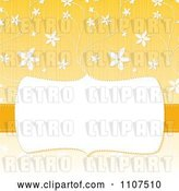 Vector Clip Art of Retro Frame with Copyspace over a Textured Yellow and White Floral Pattern by Amanda Kate