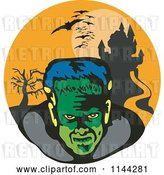 Vector Clip Art of Retro Frankenstein Bats and Haunted Mansion by Patrimonio