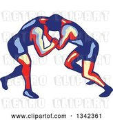 Vector Clip Art of Retro Freestyle Wrestlers in Action by Patrimonio
