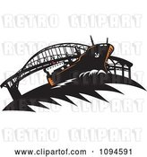 Vector Clip Art of Retro Freighter Ship near a Bridge by Patrimonio