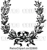 Vector Clip Art of Retro French Floral Wreath and Bow by Prawny Vintage