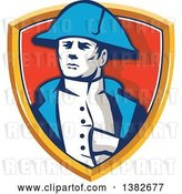 Vector Clip Art of Retro French General Commander, Napoleon Bonaparte, in a Shield by Patrimonio