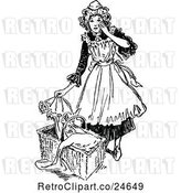 Vector Clip Art of Retro French Maid and Baby Basket by Prawny Vintage