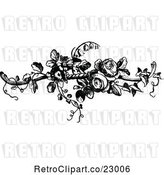 Vector Clip Art of Retro French Rose Design Element 2 by Prawny Vintage