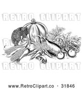 Vector Clip Art of Retro Fresh Harvest Vegetables in Black and White by AtStockIllustration