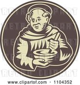 Vector Clip Art of Retro Friar Monk Mixing Food in a Bowl on a Brown Circle by Patrimonio