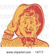 Vector Clip Art of Retro Friendly Cowboy Guy Tipping His Hat While Saying Howdy by Andy Nortnik