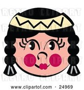Vector Clip Art of Retro Friendly Native American Indian Girl's Face with Braids, Flushed Cheeks and a Headband by Andy Nortnik