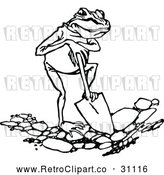 March 21st, 2018: Vector Clip Art of Retro Frog Digging by Prawny Vintage