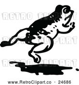 Vector Clip Art of Retro Frog Leaping by Prawny Vintage
