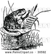 Vector Clip Art of Retro Frog Playing a Banjo on a Mushroom by Prawny Vintage
