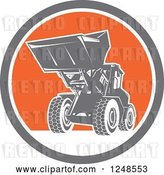 Vector Clip Art of Retro Front End Loader Digger Machine in a Circle by Patrimonio