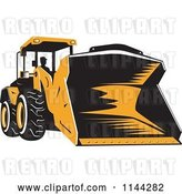 Vector Clip Art of Retro Front Loader Bulldozer and Operator by Patrimonio